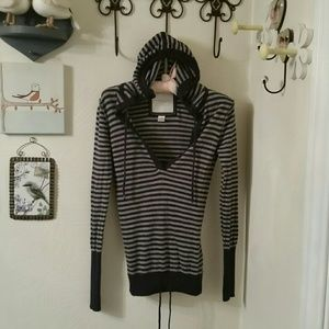 American Eagle Outfitters striped hooded top, XS